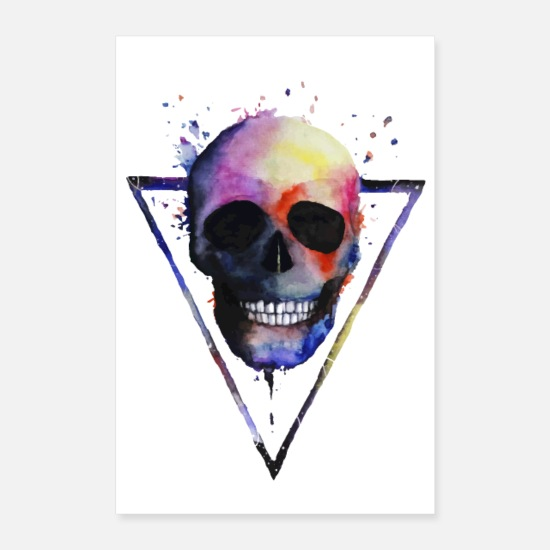 Abstract Posters - Watercolor Skull - Posters white