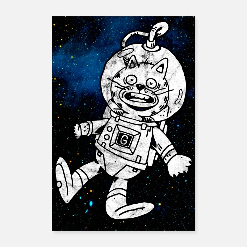 Space Posters - Space Cat Astronaut Poster - Posters white