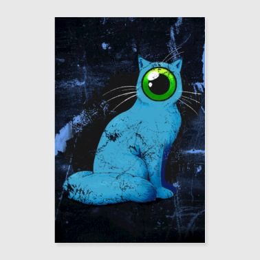 Weird One-Eyed Cyclops Cat Poster (Blue) - Poster 24x36