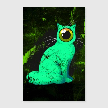 Weird One-Eyed Cyclops Cat Poster (green) - Poster 24x36