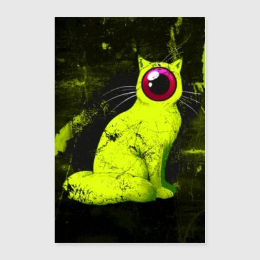 Weird One-Eyed Cyclops Cat Poster (yellow) - Poster 24x36