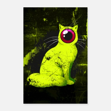 Cute Tiger Weird One-Eyed Cyclops Cat Poster (yellow) - Poster