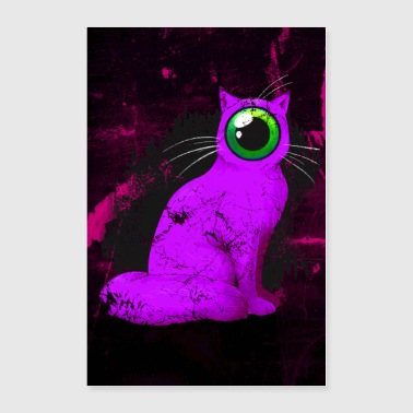 Weird One-Eyed Cyclops Cat Poster (pink) - Poster 24x36