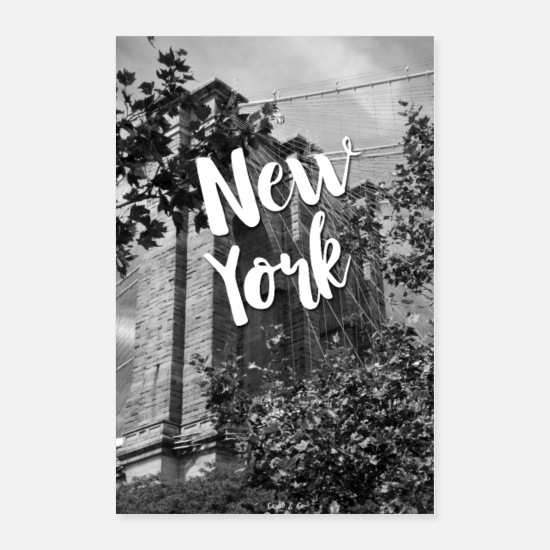 Typography Posters - New York - Brooklyn Bridge - Posters white