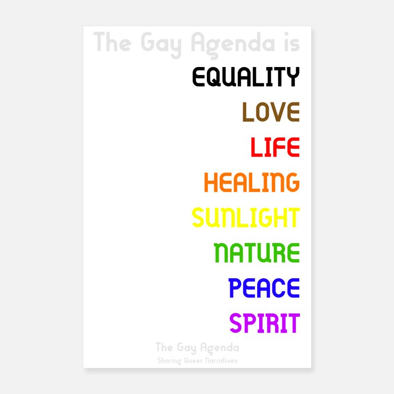 Gay Pride Posters - The Gay Agenda is... Poster - Posters white