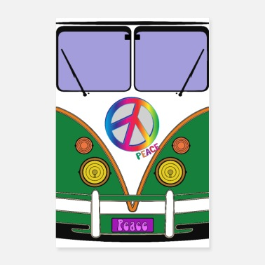 Hipster Peace and love, green love wagon, hipster bus art - Poster 24x36