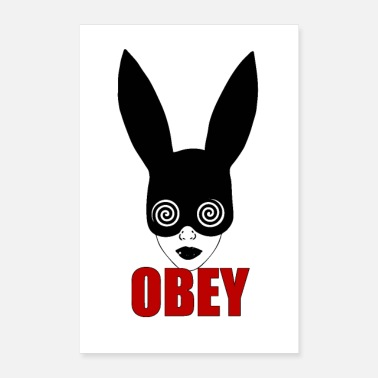 Government Black fetish bunny, OBEY, hypnotizing rat race - Poster 24x36