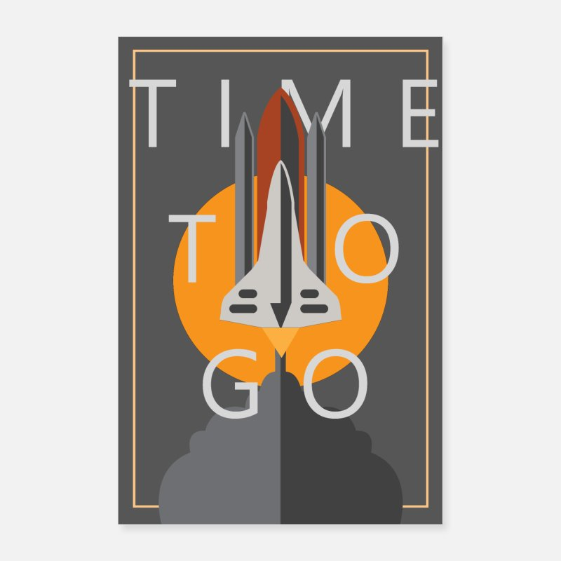 Travel Posters - SPACE SHUTTLE POSTER WITH TEXT - Posters white