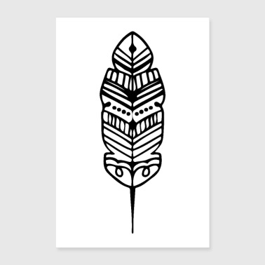 Shape Tribal Shape Feather Maori Tattoo Ancient Tribe - Poster 24x36