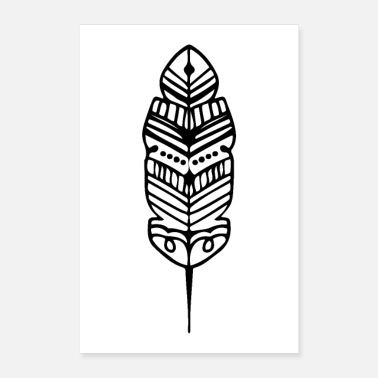 Ancient Tribal Shape Feather Maori Tattoo Ancient Tribe - Poster 24x36
