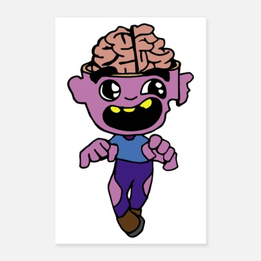 Freak Halloween Open brain zombie sleepwalking screaming - Poster 24x36