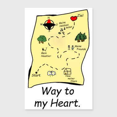 treasure map way to my heart gift idea - Poster 24x36