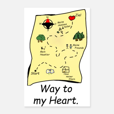 Map treasure map way to my heart gift idea - Poster 24x36