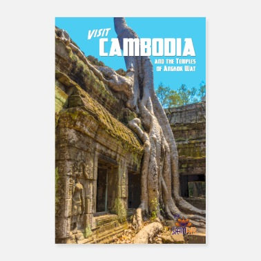Vintage Vintage Cambodia Travel Poster - Poster
