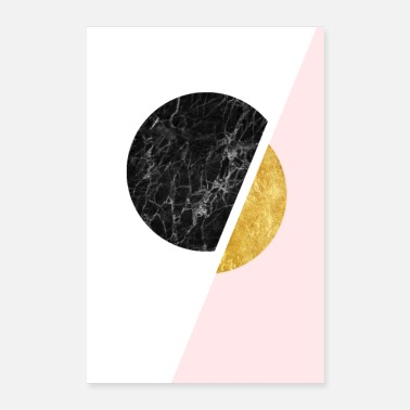 Black And Gold Modern Scandinavian Minimalist Black And Gold Art - Poster