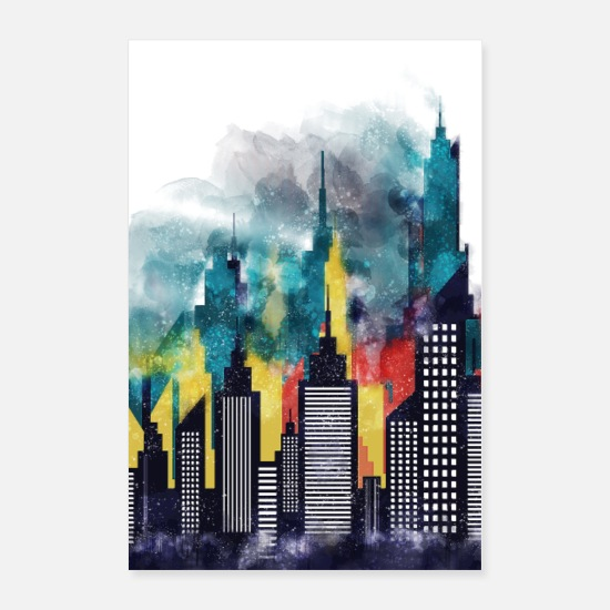 Usa Posters - New York City Skyscrapers In Watercolor Art - Posters white