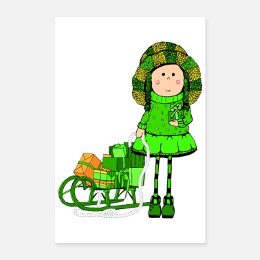 Nicholas Poster Girl Sled Gifts Winter magic - Poster 24x36