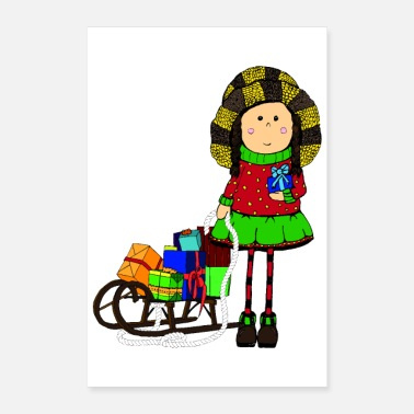 December Woman Poster Girl Gifts Sled Winter magic - Poster