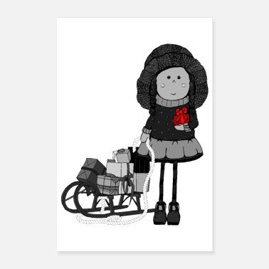 Nicholas Girl with christmas gift - Poster