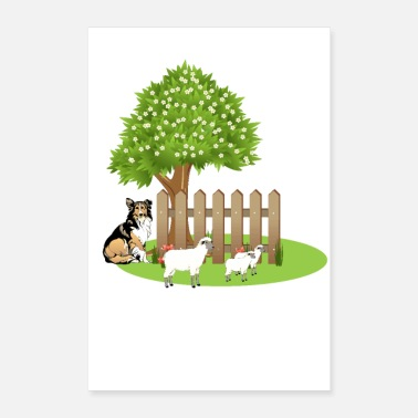 Toddler sheep and dog by LindezaDesign - Poster 24x36