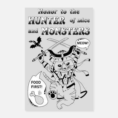 Monster Fluffy monster hunter - grey poster - Poster 24x36