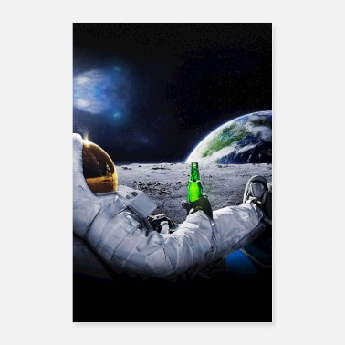 Space Exploration Astronaut on the Moon with space beer ⛔ HQ quality - Poster