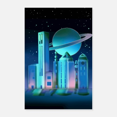 Space Galaxy City - Poster