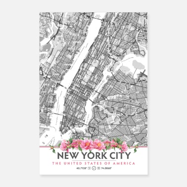 Neighborhood New York City Neighborhood Map, Peony Flowers - Poster