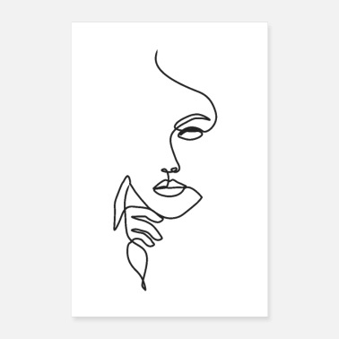 Drawing Woman Face Line Art - Poster