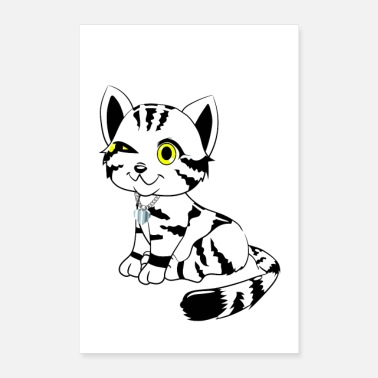 Sit White and black cat sitting winking - Poster