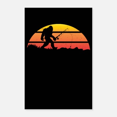 Bigfoot Bigfoot Fishing Pole Rod Sasquatch Gift - Poster