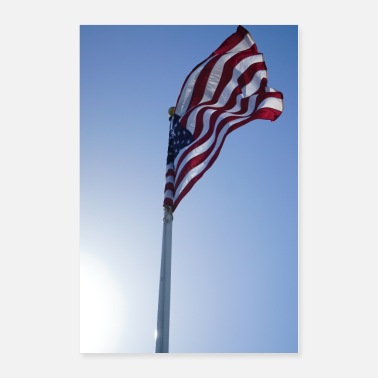 Wind USA flag in San Francisco , poster, gift idea - Poster 24x36