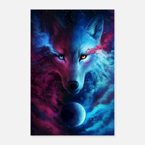 Abstract Posters - WOLF | GALATIC NIGHT - Posters white
