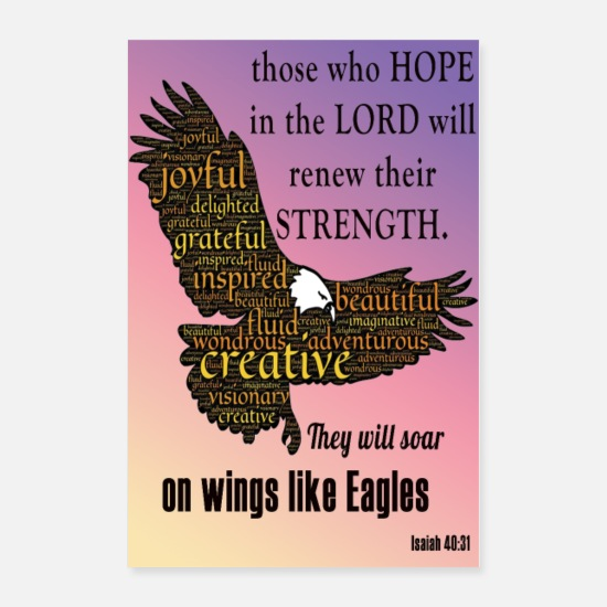 Motivational Posters - Hope Lord Eagles Poster - Posters white