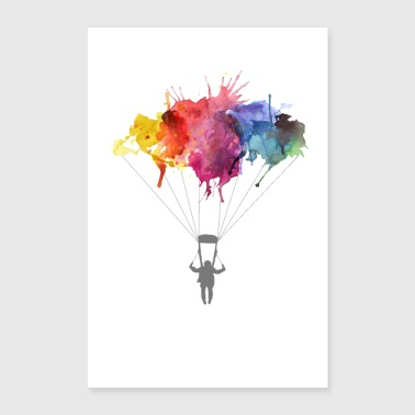 Skydiver Parachutist Skydiving Watercolor Art Gift - Poster 24x36