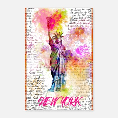 Graffiti New York Liberty, Rainbow Colors Graffity Pop Art - Poster
