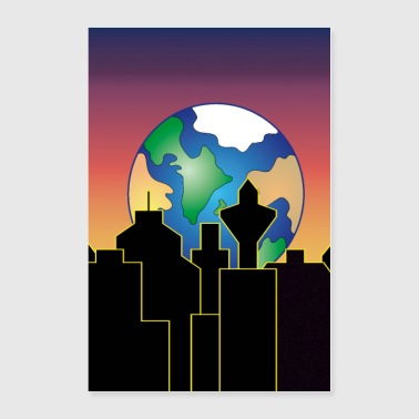 earth rising over the city skyline at night - Poster 24x36