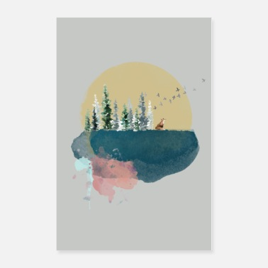 Moon Watercolour moon! - Poster 24x36