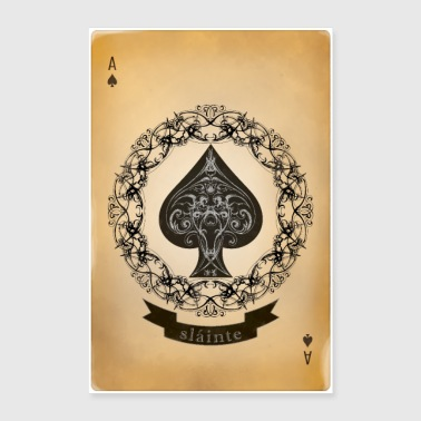 Ace of Spades Vintage Playing Card: Sláinte - Poster 24x36