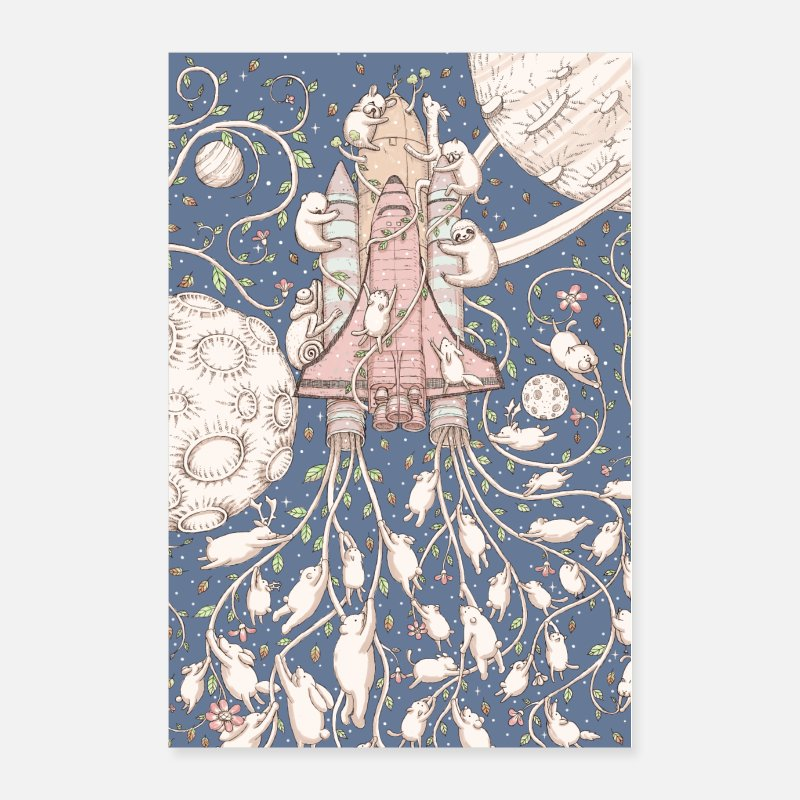 Mythical Collection Posters - forest rocket - Posters white