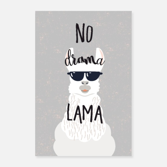 Animal Posters - no drama lama - Posters white