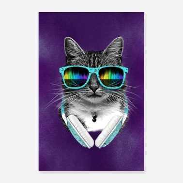 Animal Collection Cool Cat With Glasses And Headphones - Poster
