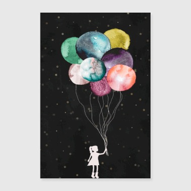 Little girl with balloons - Poster 24x36