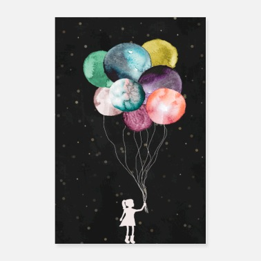 Little Little girl with balloons - Poster 24x36