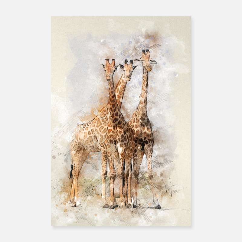 Animal Posters - Giraffe Giraffen Nature - Posters white