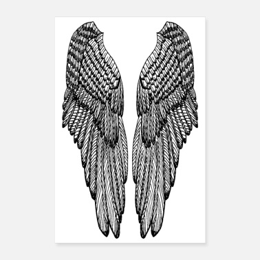 Ángel Long Black Outline Wings - Poster