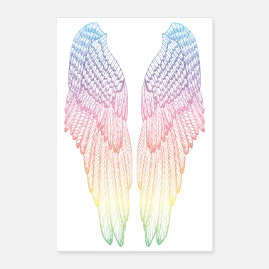 Wing Long Rainbow Angel Wings - Poster