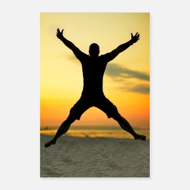 Silhouette X Silhouette of a jumping man on the beach - Poster 24x36