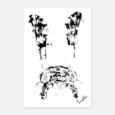Stencil fly (insect) black & white animal creativ art - Poster 24x36