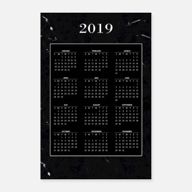 Stylish Calender 2019 black marble - Poster 24x36